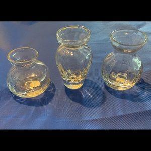 VTG 3 Fluted Handblown Glass Vases NIB Never used